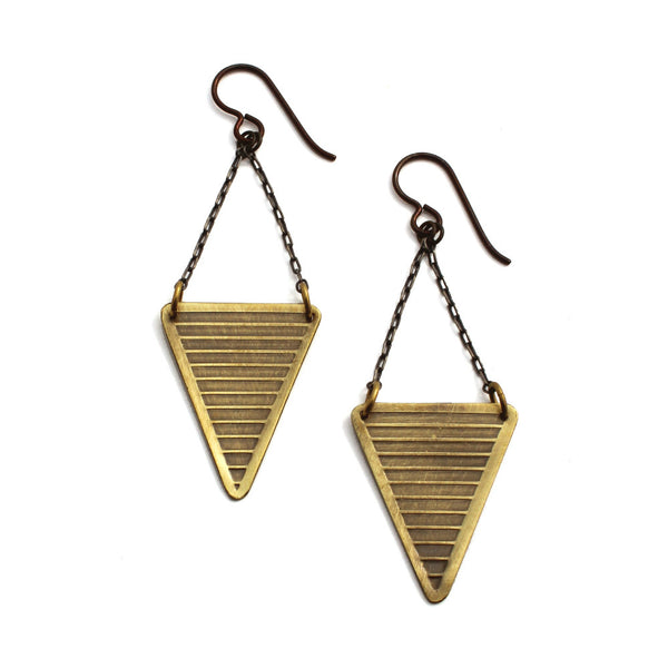 Neo-Metric Triangles | textured drop earrings