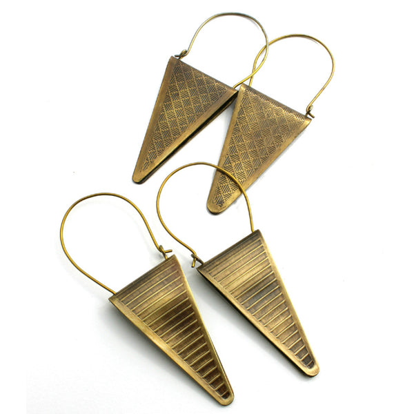 Neo-Metric Spikes | long pointed triangle hoop earrings