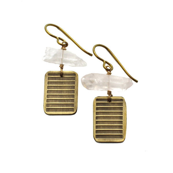 Neo-Metric Stones | small rectangle earrings w/stone accents