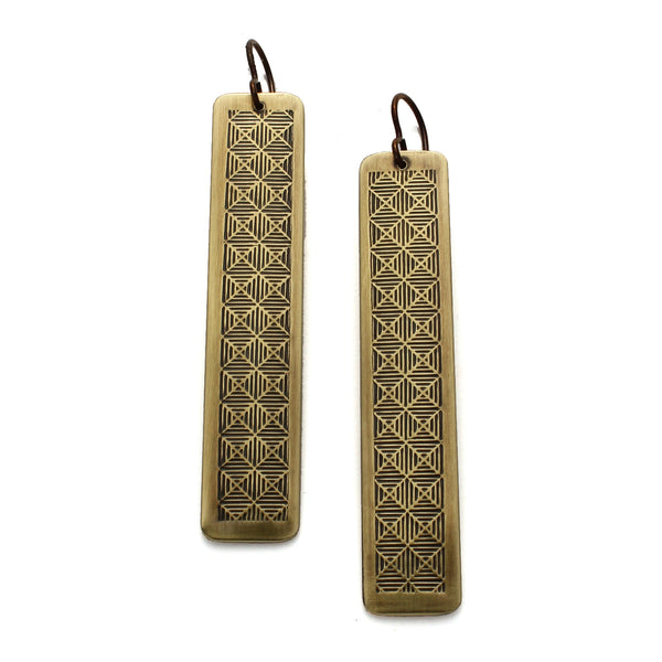 Neo-Metric Bars | long rectangle patterned earrings