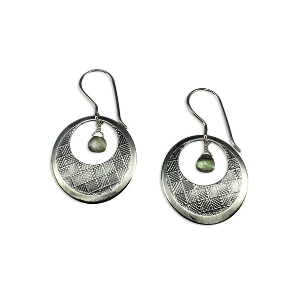 Neo-Metric | Open Circle Earrings w/Gemstone Drop