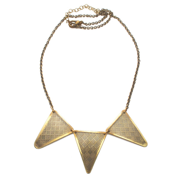Neo-Metric Triangles | triple textured necklace