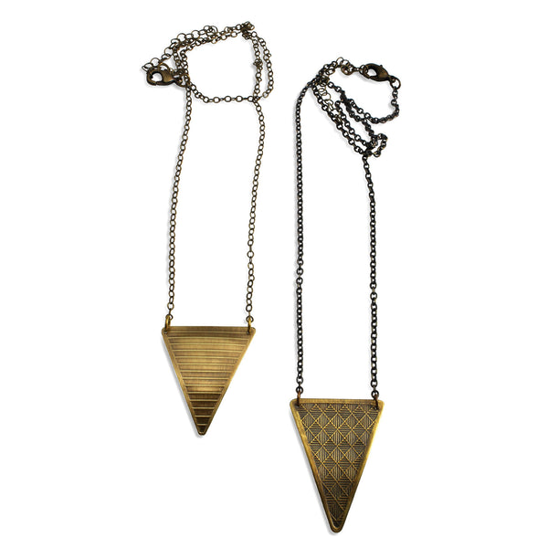 Neo-Metric Point | single textured triangle necklace