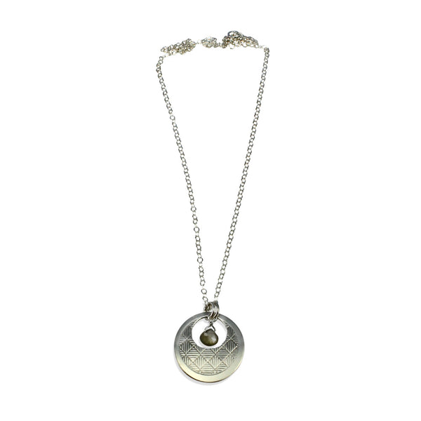 Neo-Metric | Open Circle Pendant w/Gemstone Drop Necklace (small)