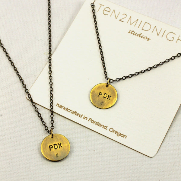 PDX Stamped Disc Necklace | WEB SPECIAL
