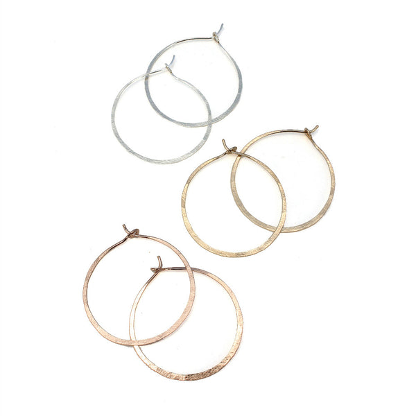 Natural Beauty | Round Hammered Hoop (Small)