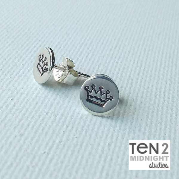 """ROYAL"" - Sterling Silver Hand Stamped Crown Post Earrings"