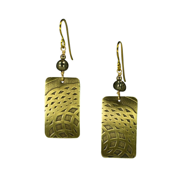Talisman | rectangle earrings with stone accent