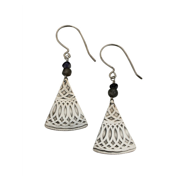 Talisman | small textured fan earring with stone drop
