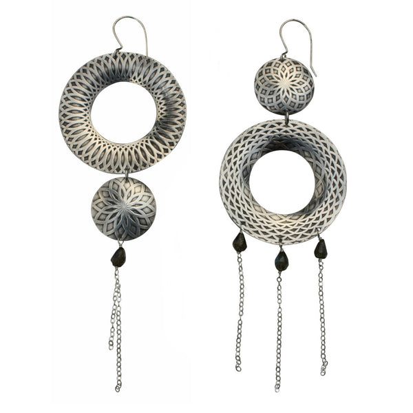 Talisman | Asymmetrical textured statement earrings