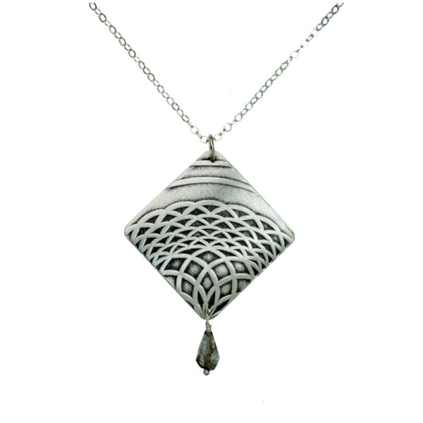 Talisman | diamond shaped pendant with gemstone accent