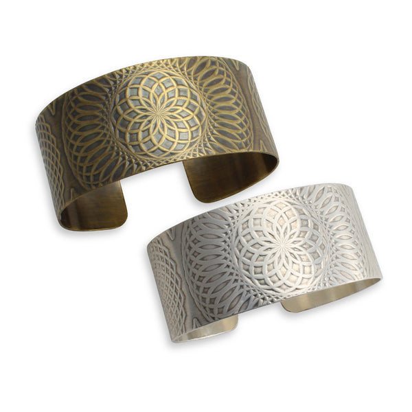 Talisman Textured Cuff Bracelet by Ten2Midnight Studios. Available in sterling silver or brass.