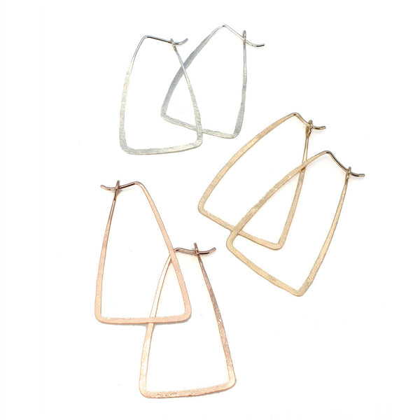 Natural Beauty | Trapezoid Hammered Hoop Earrings