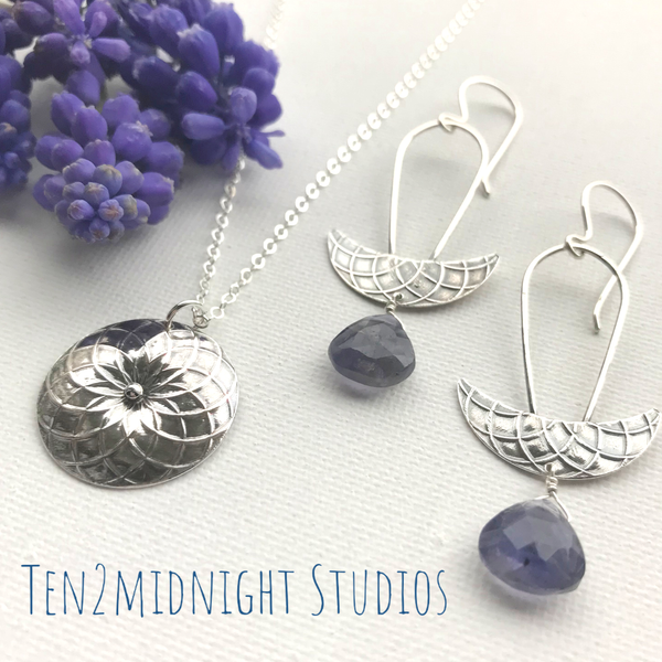 Moon Crescent Iolite Earrings | ONE OF A KIND