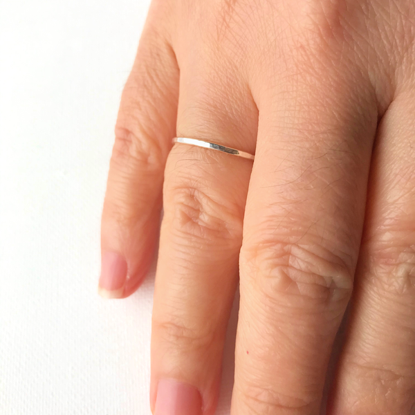 Single Thin Hammered Stacking Ring