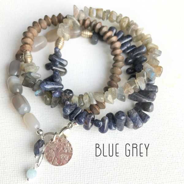 Mixed Gemstone Triple Wrap Bracelet/Necklace | WEB SPECIAL