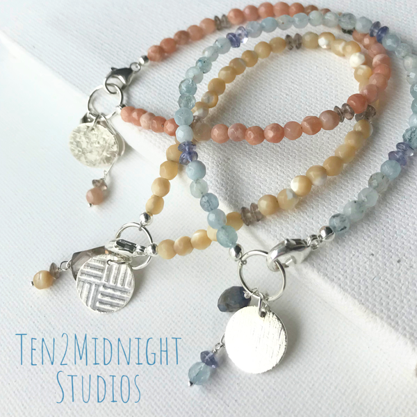 Coastline Stacking Bracelets with textured charm