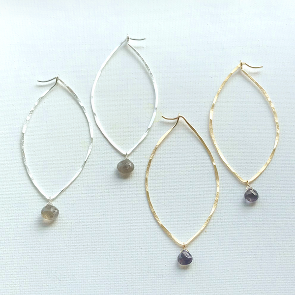 Large Chrysalis Hoops w/gemstone drops | Natural Beauty