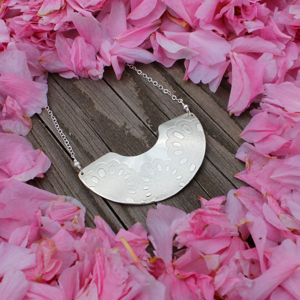 Sakura Necklace | floral imprint half moon pendant