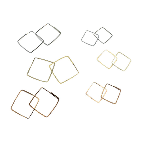Natural Beauty | Square Hammered Hoops (Small)