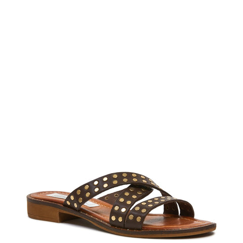 Sophea Slide - Chocolate Calf/Gold