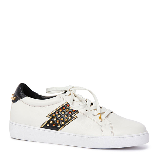 Samara Trainer - White Calf/Black Snake