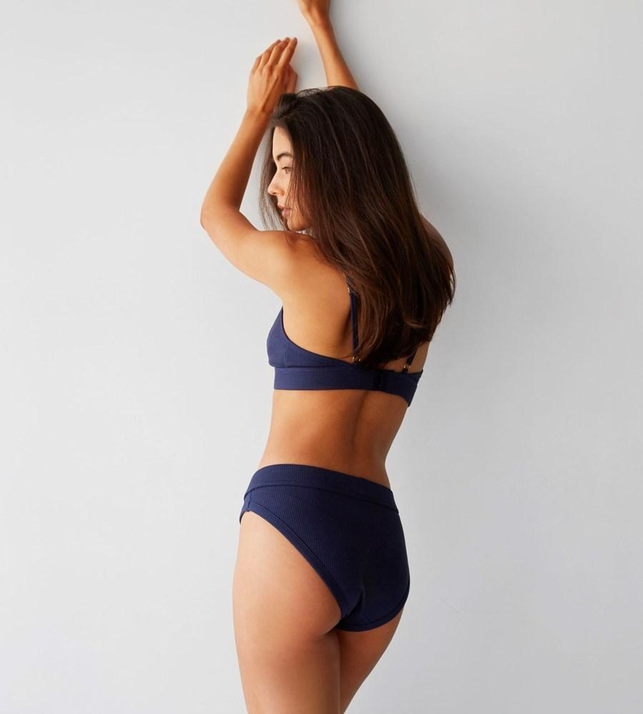 Ribbed Bikini Brief - Navy