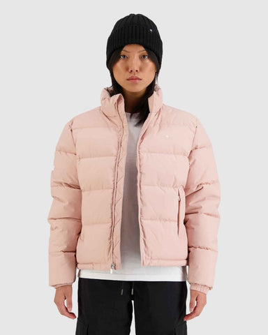Womans Track Puffer Jacket - Dusty Pink