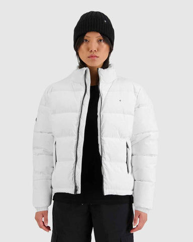Womans Track Puffer Jacket - White