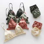 Women Deep V Thin Pad Bras Ruffles Panties Intimates Suits Summer Bras Sets Glossy Lingerie Set