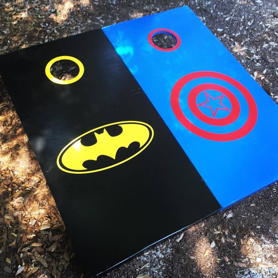 Outstanding Super Hero Batman Captain America Cornhole Set With Bean Bags Pdpeps Interior Chair Design Pdpepsorg
