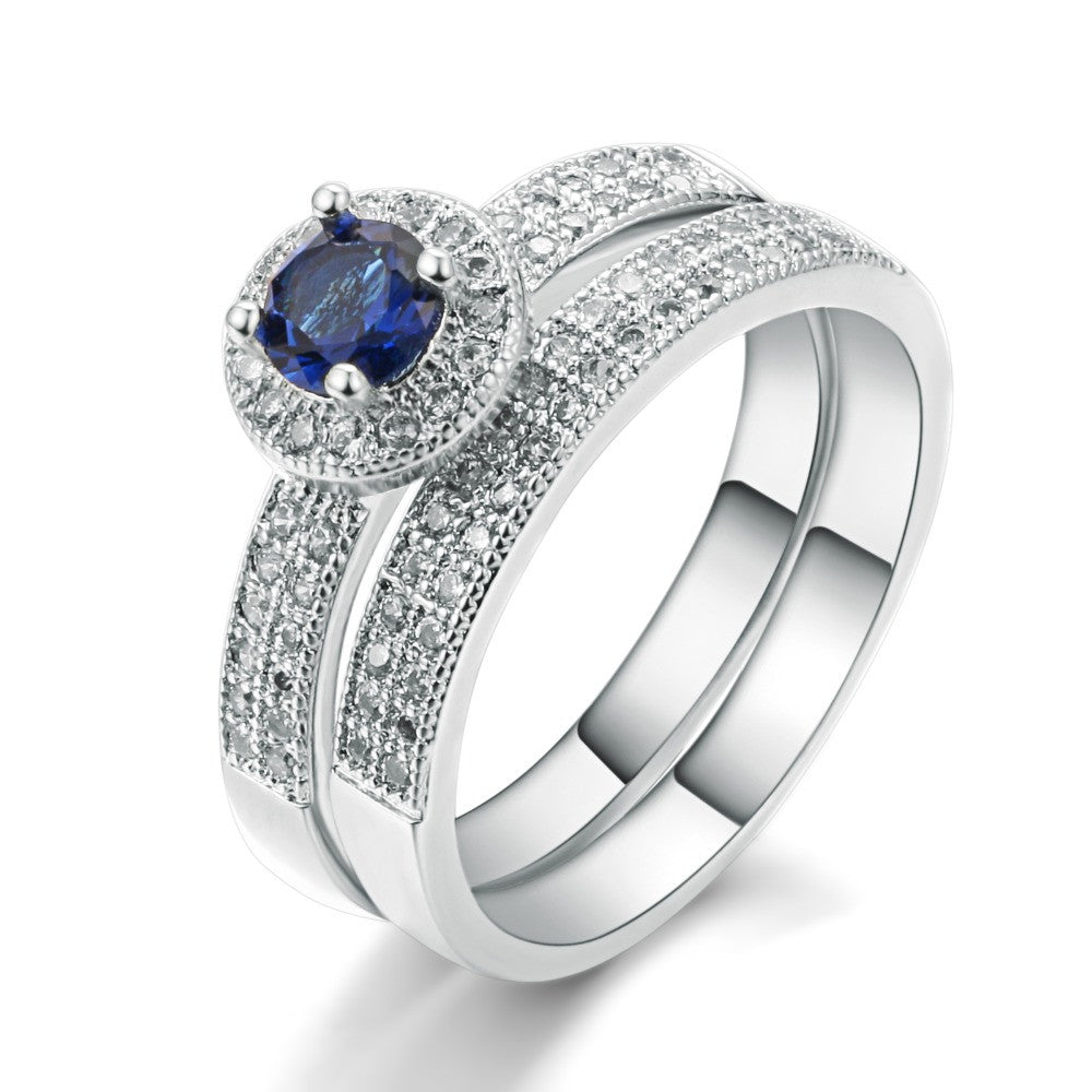 18K White Gold Plated Sapphire Engagement Ring Set