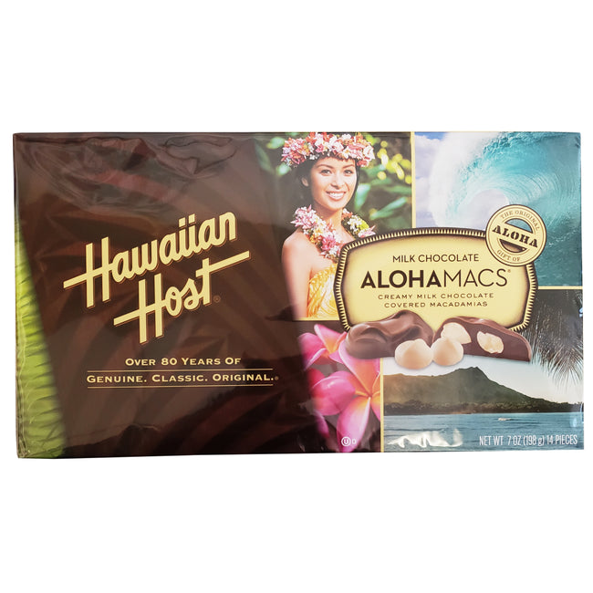 "Hawaiian Host Milk Chocolate ""ALOHAMACS"" Creamy Milk Chocolate Covered Macadamias 7oz"