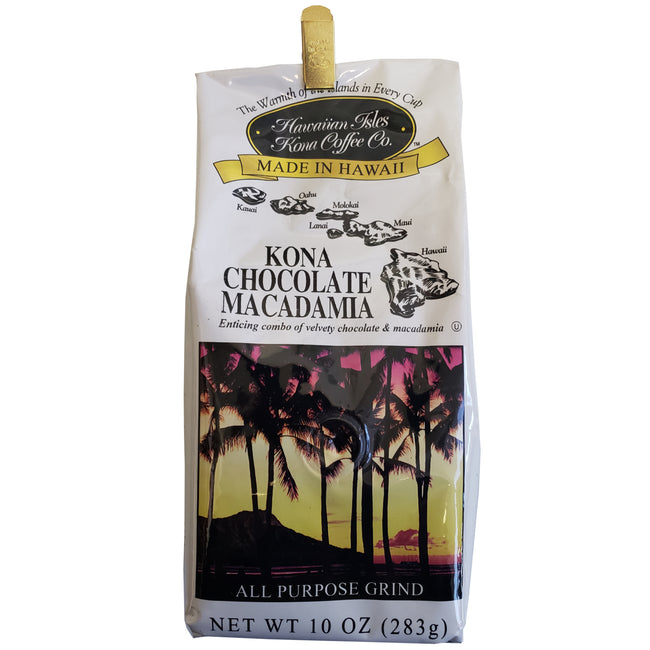 Hawaiian Isles Kona Coffee Chocolate Macadamia Nut Ground Coffee 10oz