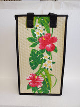 Tropical Paper Garden Reusable Hot/Cold Double Wine Bag- Unforgettable Cream