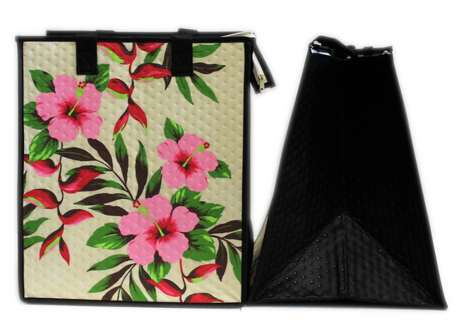 Tropical Paper Garden Hawaiian Hot/Cold Insulated Large Bag - HAPPY HELICONIA CREAM