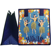 Tropical Paper Garden Hawaiian Hot/Cold Reusable Small Bag - Hula Maids Blue