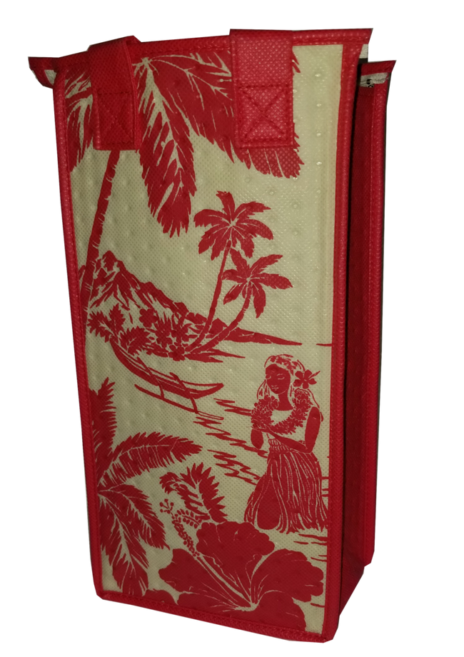 Tropical Paper Garden Reusable Hot/Cold Single Wine Bag- Magic Island Red