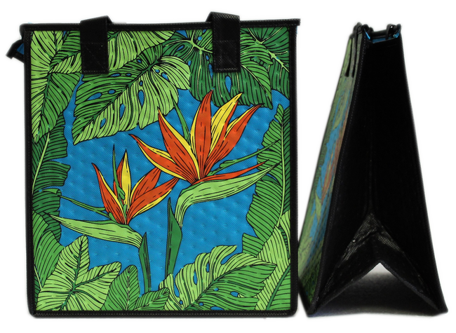 Tropical Paper Garden Hawaiian Hot/Cold Reusable Medium Bag - MUSE TURQ