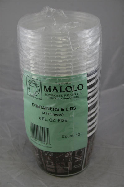 Malolo Containers & Lids 12CT 8oz