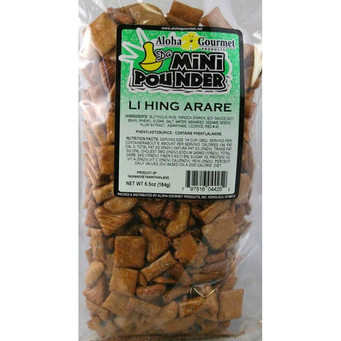 Aloha Gourmet Da Mini Pounder Li Hing Arare 6.5oz (NOT FOR SALE TO CALIFORNIA)