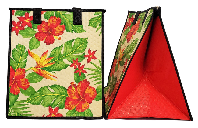 Tropical Paper Garden Hawaiian Hot/Cold Insulated Large Bag - Temptation Cream