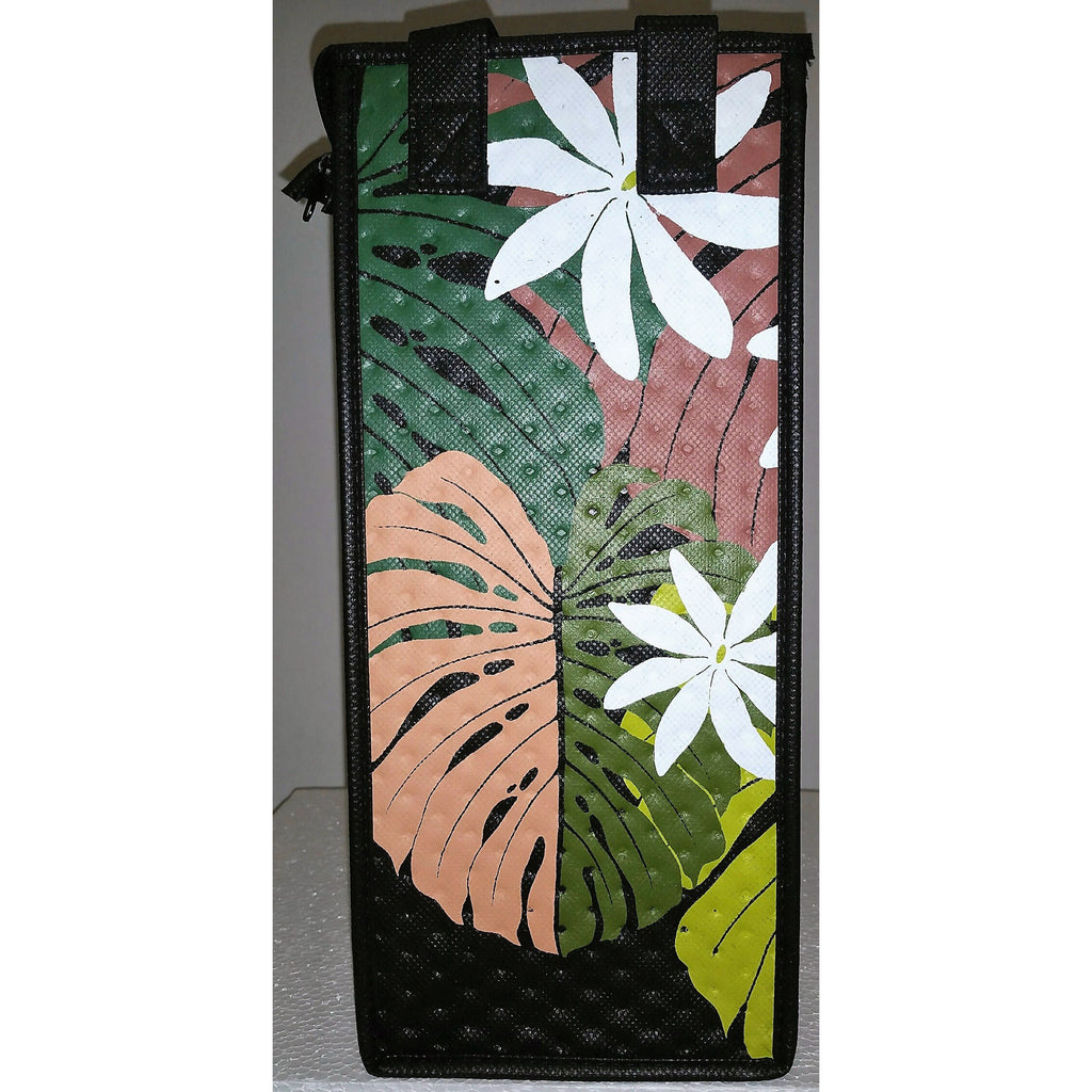 Tropical Paper Garden Reusable Hot/Cold Single Wine Bag- Poipu Black