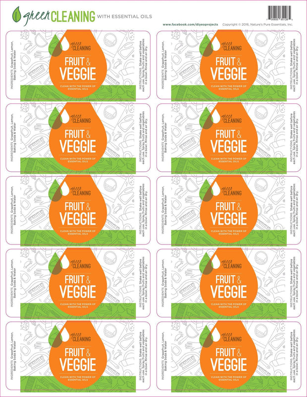 Green Cleaning Fruit & Veggie Labels - Oil Life