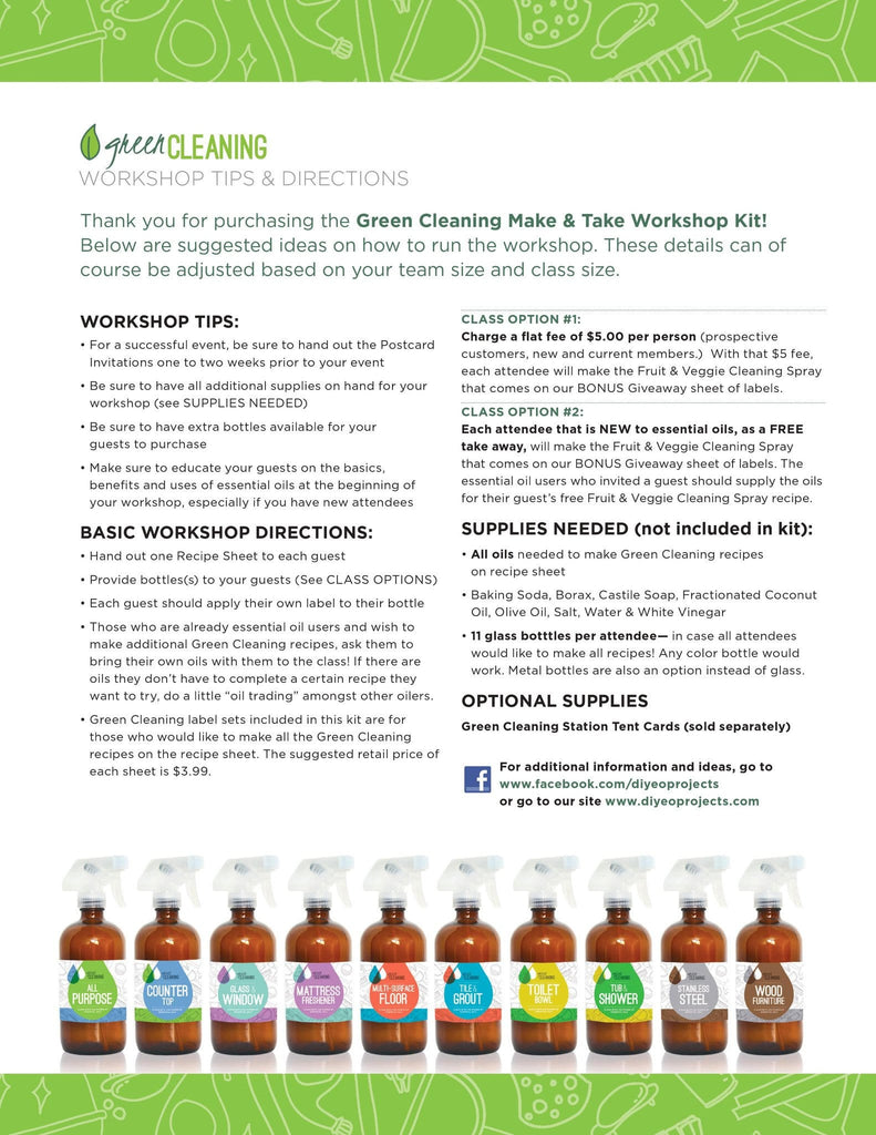 Green Cleaning Make & Take Kit; Essential Oils and ...
