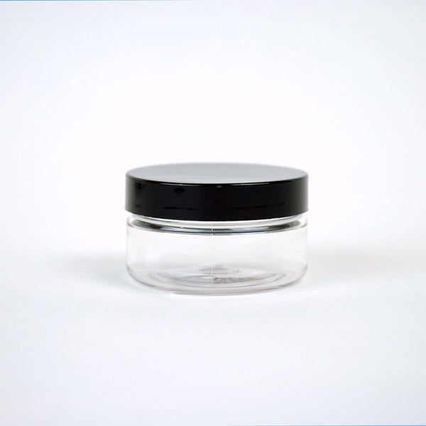 2 oz Clear Heavy Wall Jar w/ Black Cap -Plastic - Oil Life