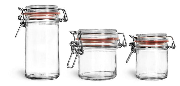 Clear Glass Wire Bale Jar w/ Hinged Lid - Oil Life