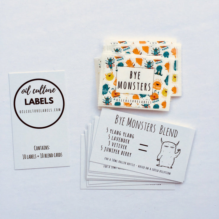 Bye Monsters - 10 pk Labels. - Oil Life