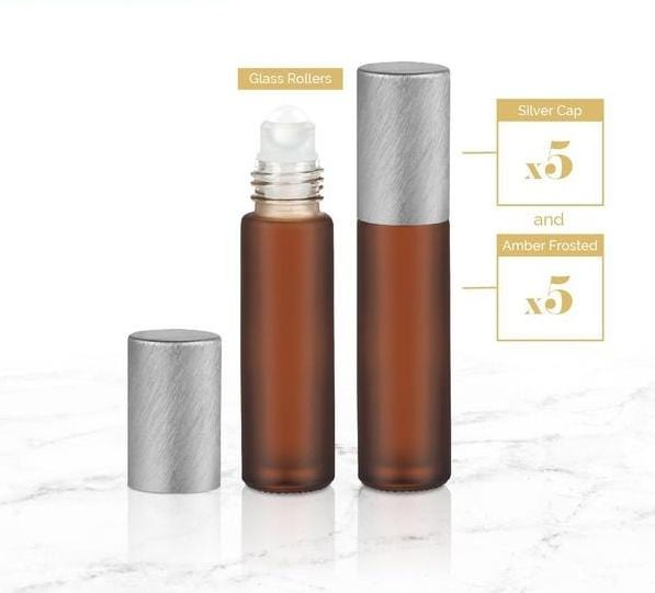 10ml Neutral Roller Bottles w/Glass Rollers -5pk - Oil Life