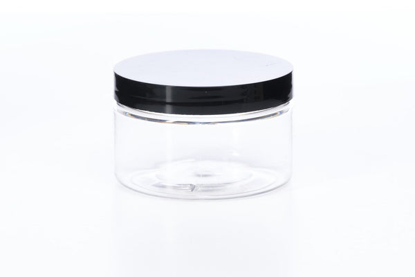 4 oz Clear Heavy Wall Jar w/ Black Cap - Oil Life